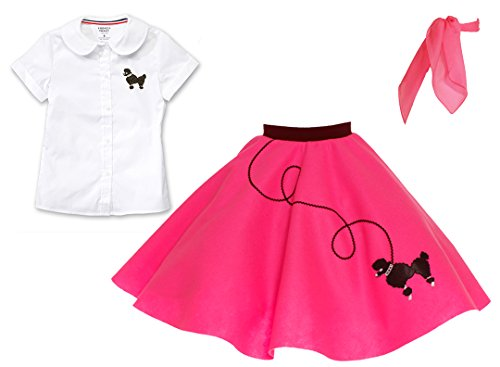 Hip Hop 50s Shop 3 Piece Child Poodle Skirt Outfit, Size 4 Hot (Pink Poodle Skirt Grease)