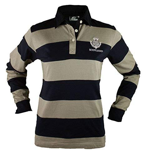 Scotland Ladies Cotton Long Sleeve Thistle Embroidered Rugby Shirt HQ IRELAND LRSS