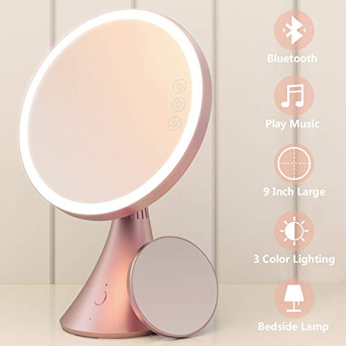 Babyltrl Lighted Makeup Mirror, Rechargeable 9 Inch Vanity Mirror with Bluetooth Speakerphone, -
