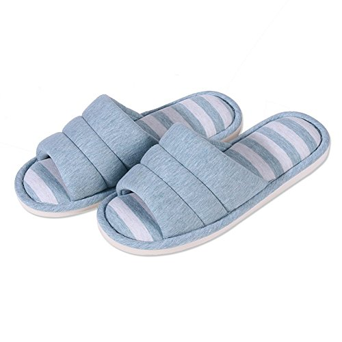ACTLATI Sample Styple Anti-slip House Shoes Men Soft-soled Stripes Home Slippers with Shoes Bag Blue ujpYWln9
