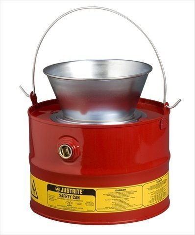 Justrite 10903 Steel Drain Can with Plated Steel Funnel, 11L Capacity
