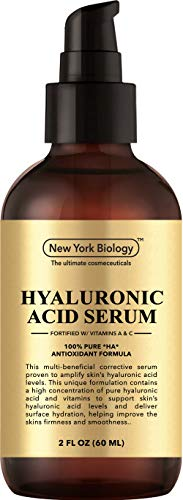 New York Hyaluronic Acid Serum with Vitamins A and C - Professional Strength Anti Aging Face Serum Improves Skin Texture and Moisturizes Skin - Huge 2 oz (Best Anti Aging Serum For 30s)