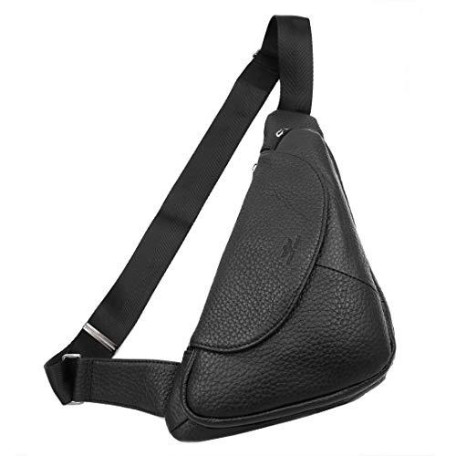 Vidlea Basic Black Leather Sling Bag Crossbody Chest Pack Shoulder Daypack - Genuine Backpack Sling Hobo Leather