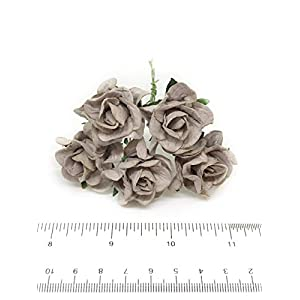 3.5cm Grey Mulberry Paper Rose Flowers with Wire Stems DIY Wedding Favor Decor Paper Bouquet Artificial Flowers Crafts Home Decorations, 25 Pieces 3