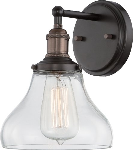 Nuvo Lighting 60/5513 Vintage Incandescent One Light Pendant Curved Clear Glass Rustic Bronze (Glasses 5513)