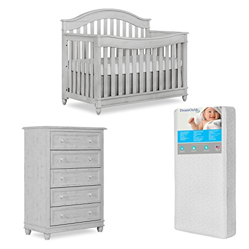 Evolur Hampton 5 in 1 Life Style Convertible Crib and 5 Drawer Dresser, Antique Mist