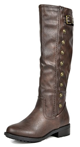 DREAM PAIRS Women's Army Brown PU Leather Knee High Winter Riding Boots Size 9 M US