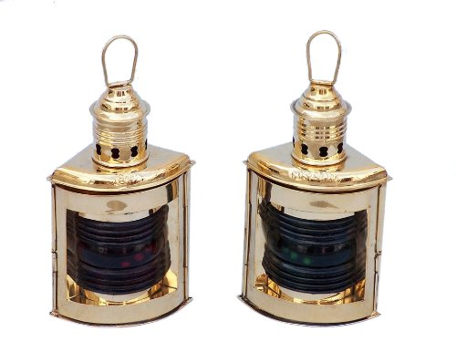 Port and Starboard Oil Lantern (Set of 2) Finish: Solid Brass by Handcrafted Model Ships (Image #7)