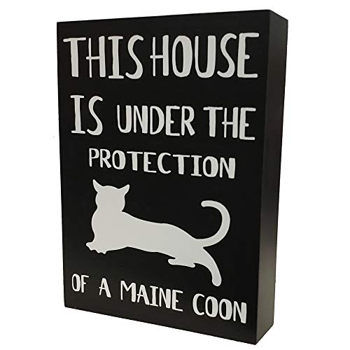 Coon Art Maine Cat - JennyGems - This House is Under The Protection of A Maine Coon Cat- Maine Coon Cat Stand Up Sign - Maine Coon Cat Gift Series, Maine Coon Quotes, Maine Coon Cat Mom, Maine Coon Cat Owner