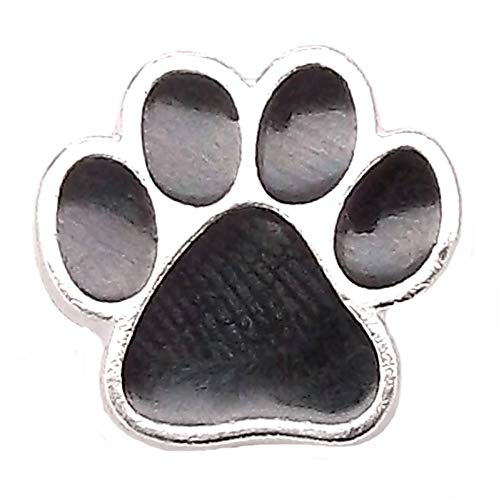 Paw Print Concho Snap Cap Silver with Black 11/16