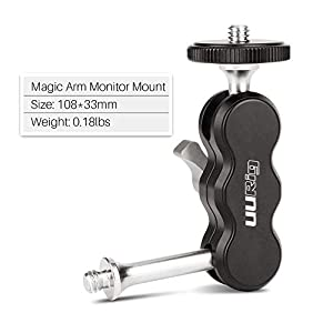 UURig R002 Dual 1/4 Mounting Adapter for Monitor Microphone LED Video Light Flashlight Magic Arm Mount Bracket with Stabilizer Double Ball Head Adjustable