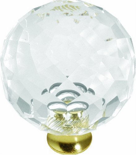 Hickory Hardware P35-CA3 1-3/8-Inch Crystal Palace Knob, Crysacrylic Polished Brass by Hickory Hardware (Crystal Ca3)