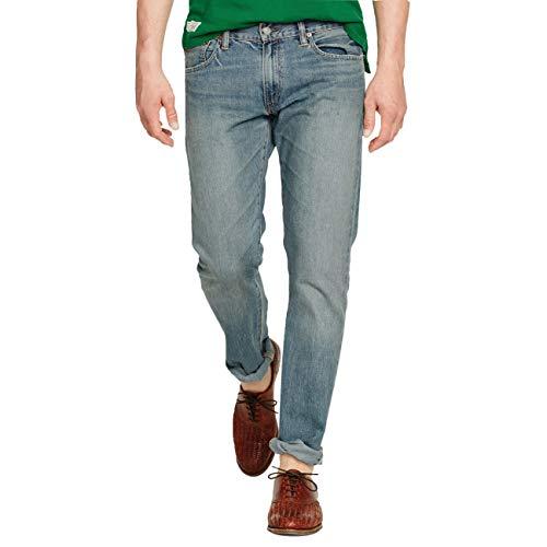 Ralph Lauren Woven Jeans - Polo Ralph Lauren Men's Varick Slim Straight Jeans (Light Blue/Powder Blue, 32W x 32L)