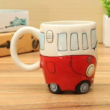 Creative Ceramic Coffee Cup Lovely Camper Van Retro Bus Mug - Drinkware & Tea Sets Water Bottles & Cups - (Red) - 1 x Meats Burger Maker Mold