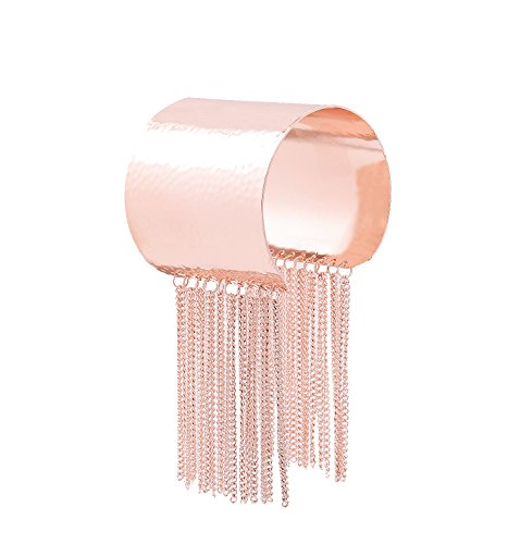 ELEARD Cuff Bangle Bracelet Statement Modern Hammered Bangle with Tassel for Women (Rose Gold)