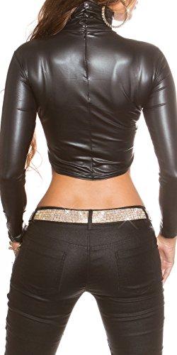 Koucla Damen Langarmshirt Shirt Top bauchfrei im Wet Look Kunstleder Optik, schwarz