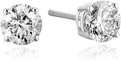 14k Gold Diamond with Screw Back and Post Stud Earrings(1 Carat, K-L Color, I2 Clarity)