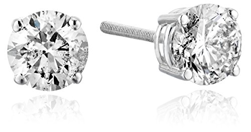 14k White Gold Diamond with Screw Back and Post Stud Earrings(1 Cttw, K-L Color, 12 Clarity) by Amazon Collection