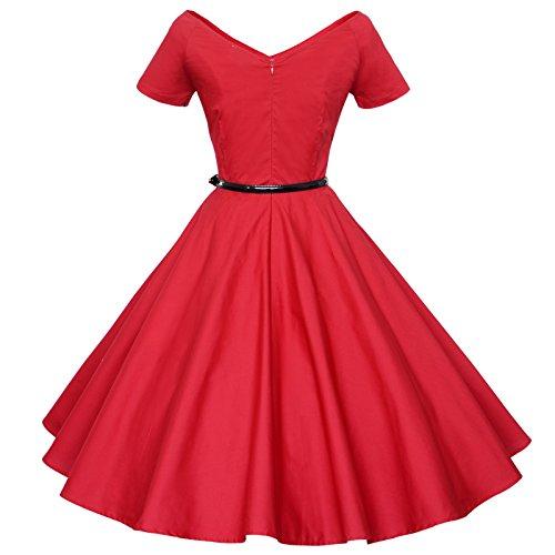 Balançoire Maggie Tang V-cou Millésime 50 60 Femmes Rockabilly Robe De Soirée Rouge Pinup
