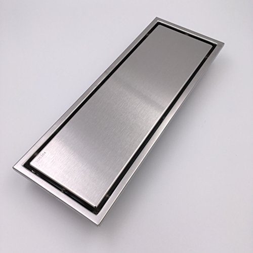 ULING D006-5 Linear Shower Drain shower Enclosure Floor Drain(300 by 110 MM ,304 Stainless Steel ,Plat Cover/Tile Insert)