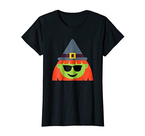 Womens Witch Emoji T-Shirt Cool Shades Halloween Gift