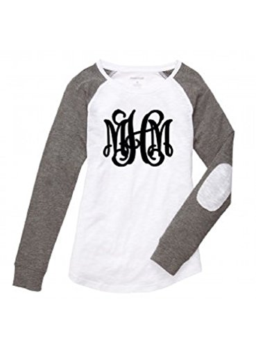 Boxercraft Women's Preppy Patch Long Sleeve Shirt Personalized MONOGRAMMED White Grey