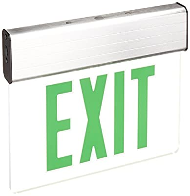 Royal Pacific RXL18GBA Double Face, Slope Ceiling Edge Lit Exit Sign, Brushed Aluminum with Green Letters
