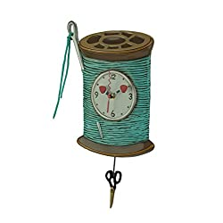 Allen Designs Needle & Thread Whimsical Sewing Pendulum Wall Clock