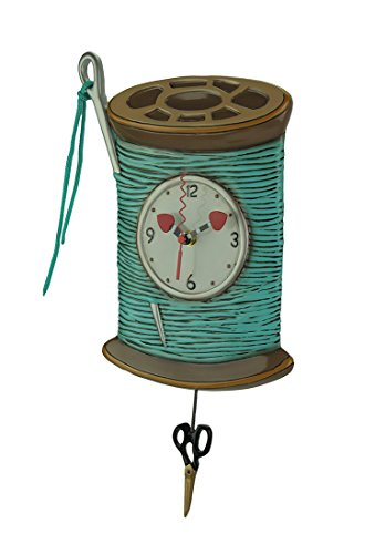Allen Designs Needle Thread Whimsical Sewing Pendulum Wall Clock