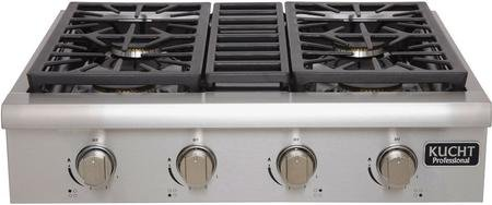 Kucht KRT3003ULP Professional Series Gas Rangetop with 4 Sealed Burners Black Porcelain Top Heavy Duty Cast-Iron Grates and Control Knobs in Stainless