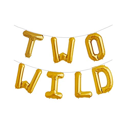 JW Passion - Premium Quality, Made With Passion Two Wild 16 inch Foil Balloons 2nd Birthday Balloon Backdrop Banner for Boy or Girl Jungle Dinosaur Safari Party Supplies Decorations...