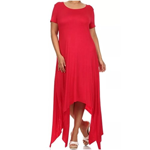 Plus Dress Maxi Asymmetrical Short Sleeve Flowly Shark Bite Women Solid (1X, Red)