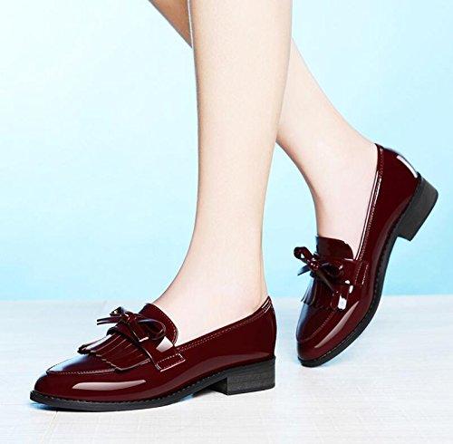 KHSKX-Die Rot England Die Retro-Su Im Frühjahr Und Herbst Neue Frauen Schuhe Punkt Flat-Bottomed Single Smart Casual Schuhe 40