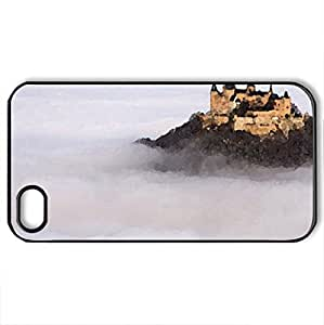 hohenzollern castle germany in the mist - Case Cover for iPhone 4 and 4s (Medieval Series, Watercolor style, Black)