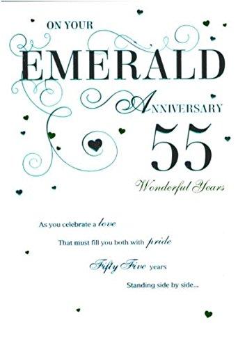Cards ICG Emerald 55th Wedding Anniversary Blue Text, Swirls & Hearts 9