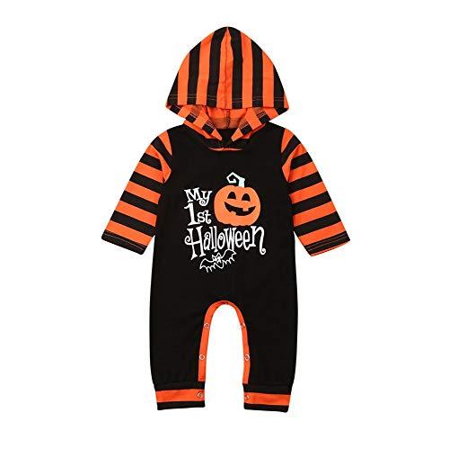 0-3 Month Newborn Halloween Costumes (Newborn Baby Halloween Costume Boy Girl Pumpkin Letter Striped Hooded Romper Jumpsuit Outfit Clothes (My 1st Halloween,0-3)