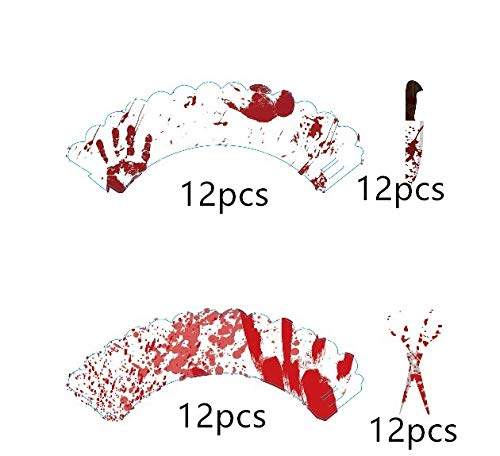 Bloody Halloween Cupcake Wrappers & Toppers Cake Picks