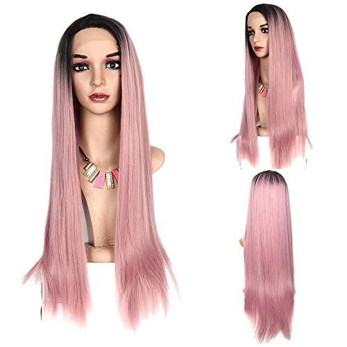 Lace Front Wigs For Women Gradient Powder Human Hair No Trace Long Straight Hair Heat Resistant Fiber Natural Lace Wig For Everyday Dresses And Various Holiday Parties ()
