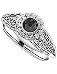 Black Onyx and CZ Leaf Design Halo Ring 1.00 CT TGW