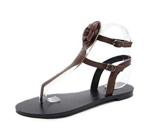 DANDANJIE Sandalias de Las Mujeres Zapatos de Cuero sintético Sandalias de Verano Comfort Bohemia Estilo étnico Tacón Plano de Oro marrón Informal Zapatos caseros Marrón