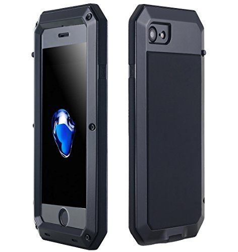 AICase iPhone 8/ iPhone 7 Aluminum Alloy Metal Screw Case, Shock/Dust/Water Proof Heavy Duty Gorilla Glass Protective Military Protector Skin Bumper Case for Apple iPhone 7 / iPhone 8(Black)