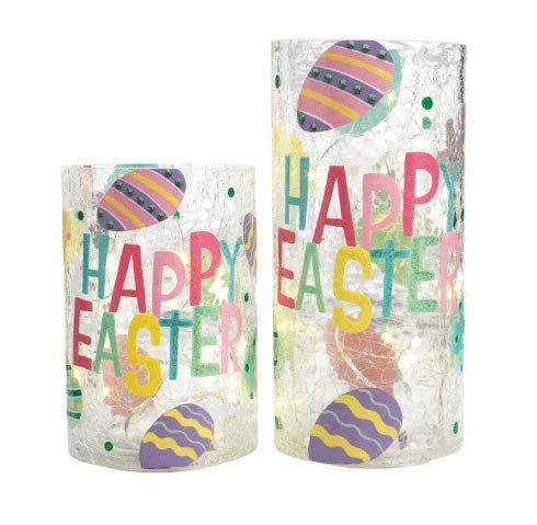 HH Heritage Home Easter 2-Piece LED Lighted Hand Painted Glass Hurricane ()