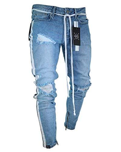 Pantaloni Stile Jeans Da Fit Semplice Blau Strappati Jeggings Slim Cher Uomo Elasticizzati REqTnIq