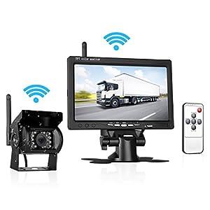 LeeKooLuu Wireless Built in Wireless Rear View Backup Camera and 7'' TFT mirror Monitor Kit for Car Vehicle / Truck / Van / Caravan / Trailers / Campe LKL-00108