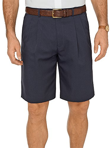 Paul Fredrick Men's Comfort-Waist Microfiber Pleated Shorts Navy 44 -