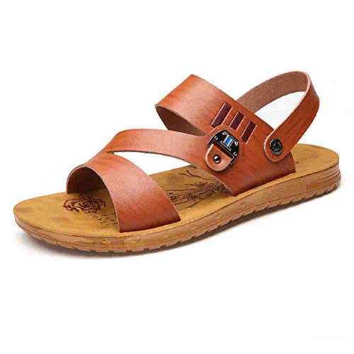 Uomo Da Brown Da 41 Traspiranti Outdoor Morbida Pelle Pantofole Open Sandali Sconosciuto In Antiscivolo Toe Spiaggia 1wq6P