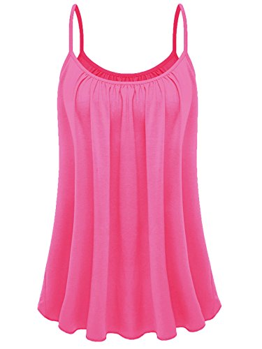 7th Element Womens Plus Size Cami Basic Camisole Tank Top - Camis Pink Basic