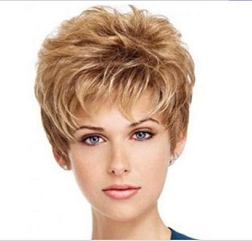 SmartFactory Short Golden Blonde Bob Short Big Wavy Human Hair Wig for Women Work -