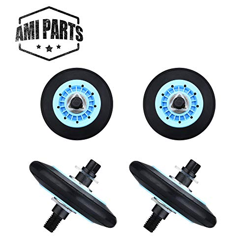 DC97-16782A Dryer Drum Roller Compatible with Samsung Replacement Parts by AMI - Replaces DC97-07523A PS4221885 AP5325135-4 Pack ()