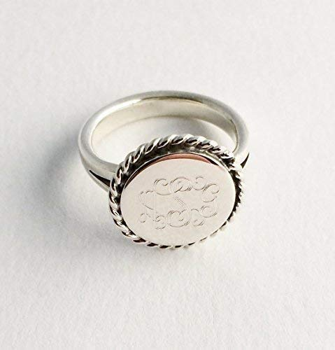 - Nautical Rope Monogram Sterling Silver Ring